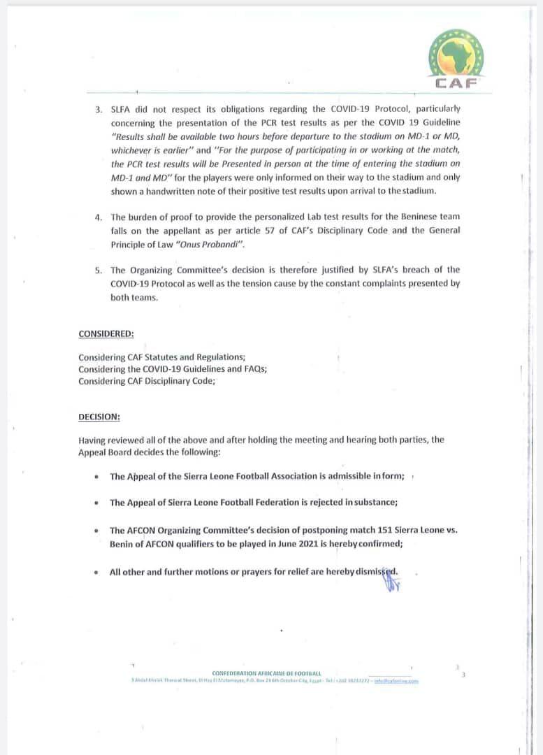 ÉLIMINATOIRES CAN 2021 : LA CAF CONFIRME LE REPORT DU MATCH SIERRA LÉONE - BENIN.